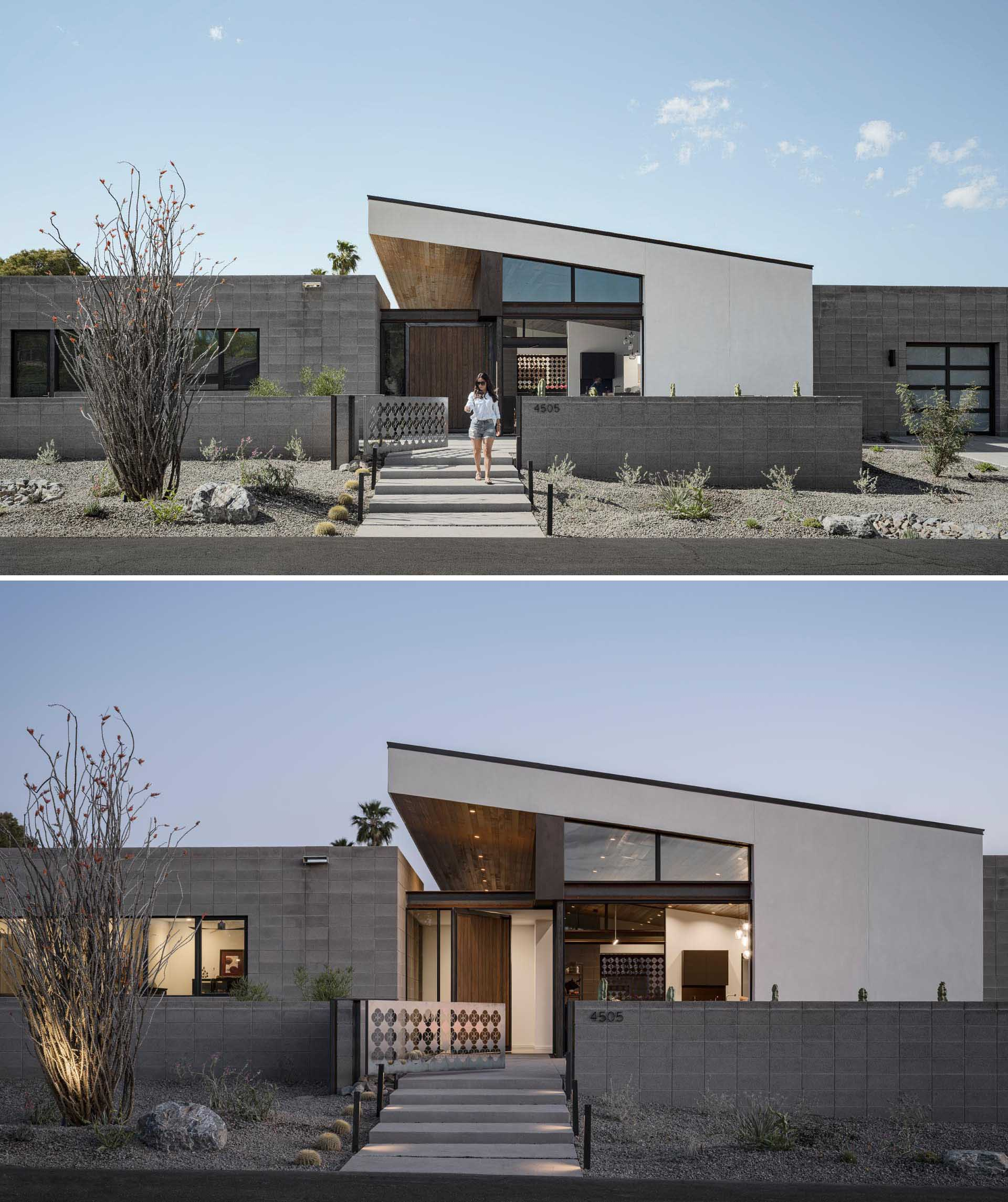 Concrete blocks are used for the walls of this modern house, as well as the low fence that surrounds a front porch.
