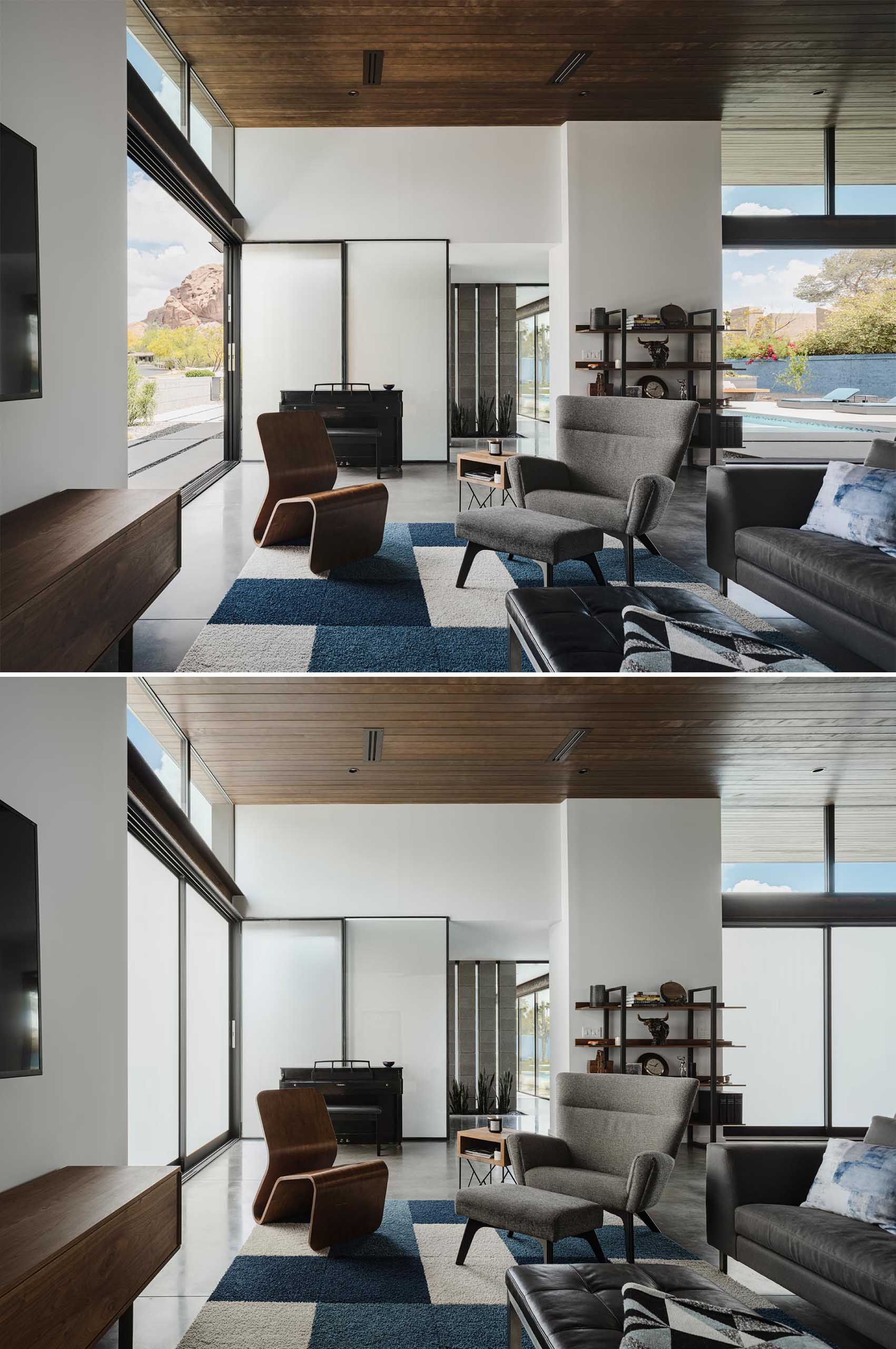 The sliding glass doors of this modern home are equipped with Gauzy, a light control glass nanotechnology that allows the glass to change from transparent to opaque for privacy and energy control.