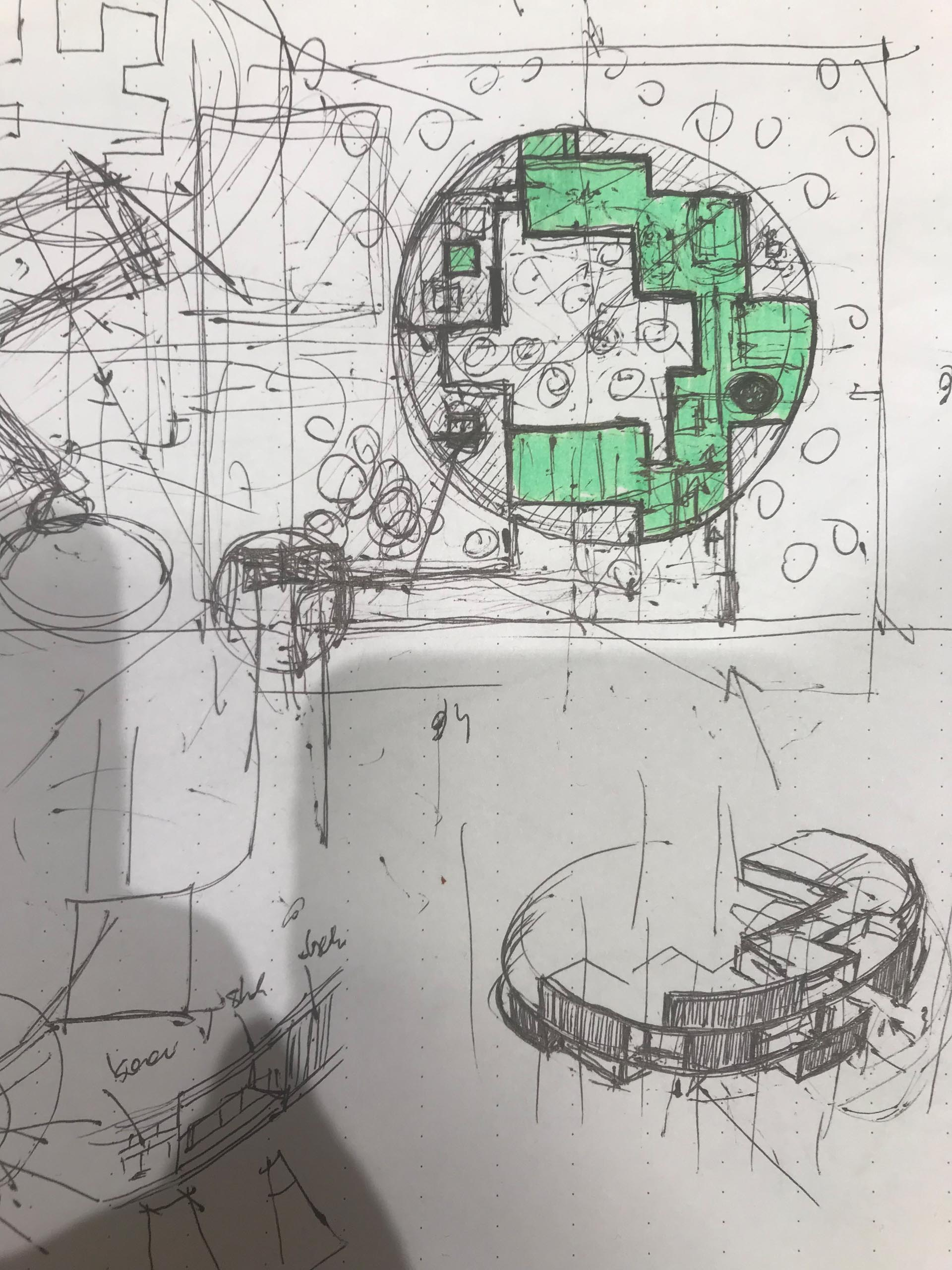 The architect's sketch of a circular home.