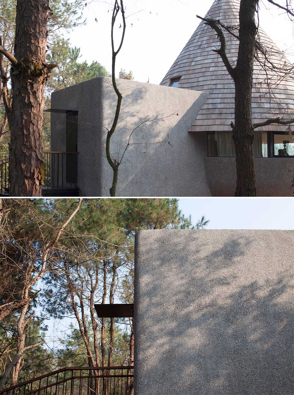 This modern cabin has wood shingles that clad a cone-shaped roof, and a base of granolithic concrete.