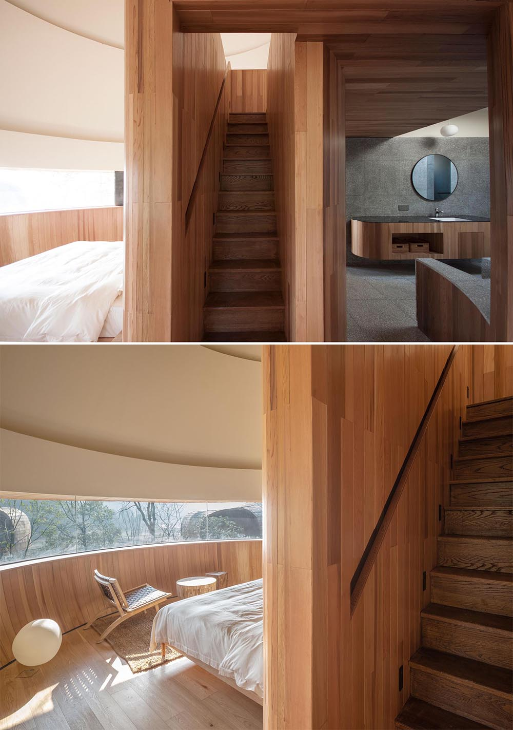 A modern cabin with a narrow staircase and built-in handrail.