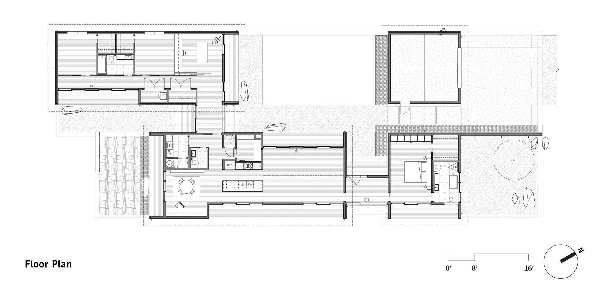 The floor plan of a modern home with hallways that connect the various areas of the interior.