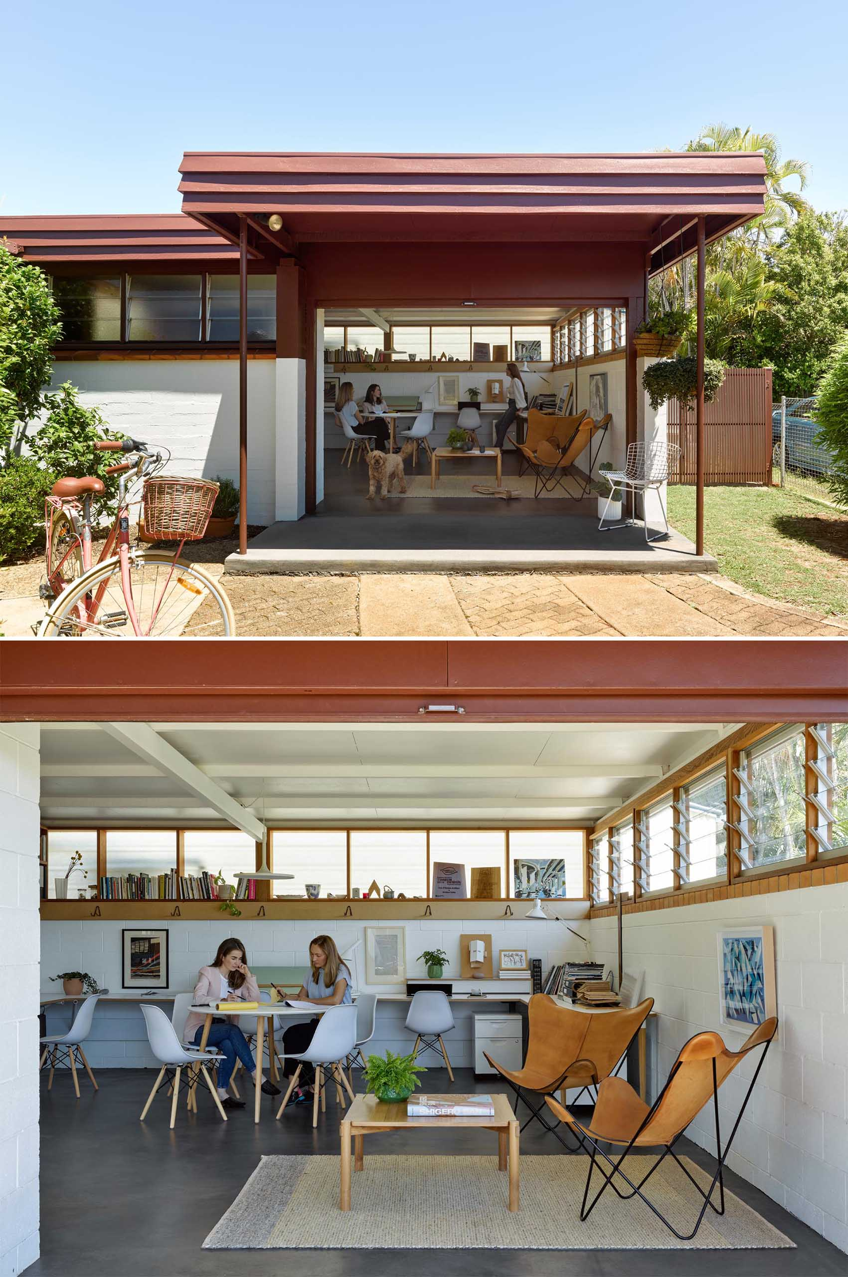 A converted carport acts as an office for 4-5 people, and can be transformed into a secondary suite if needed one day.