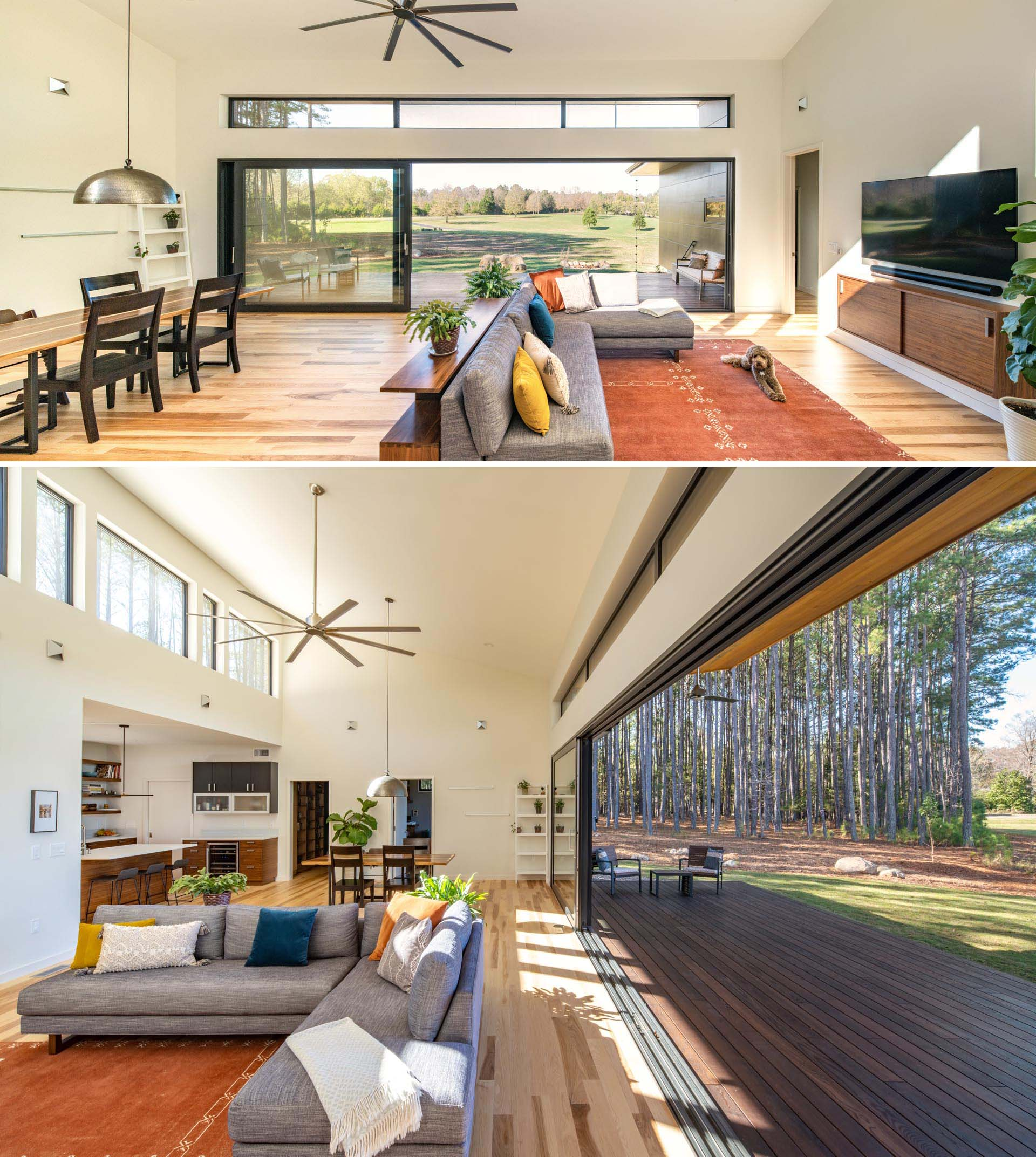 A modern home interior with high ceilings, clerestory windows, and an open plan living room and dining room.