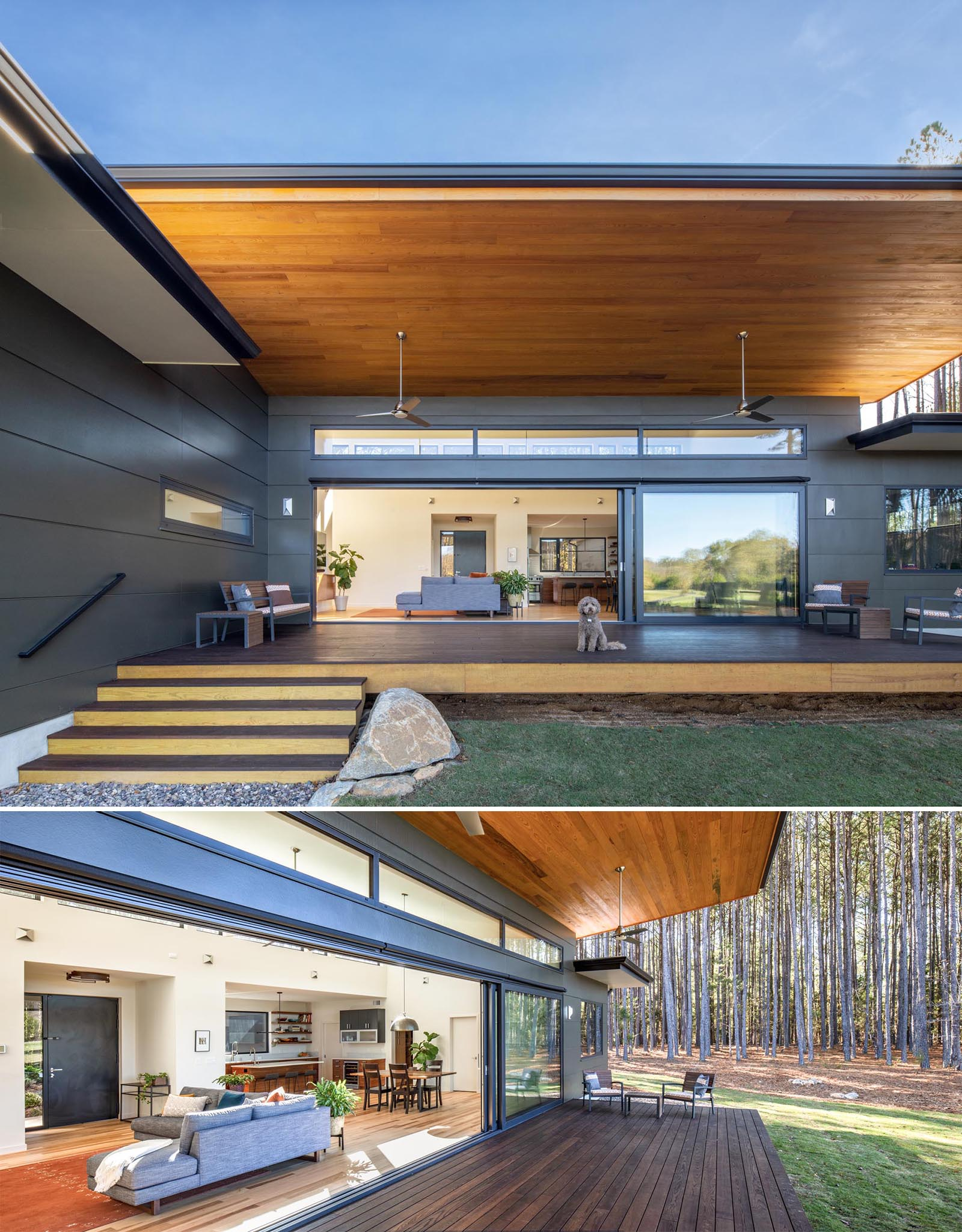 Operable glass doors (built to passive house standards for energy efficiency) were included in this modern home design to connect the interior spaces to the outdoors.