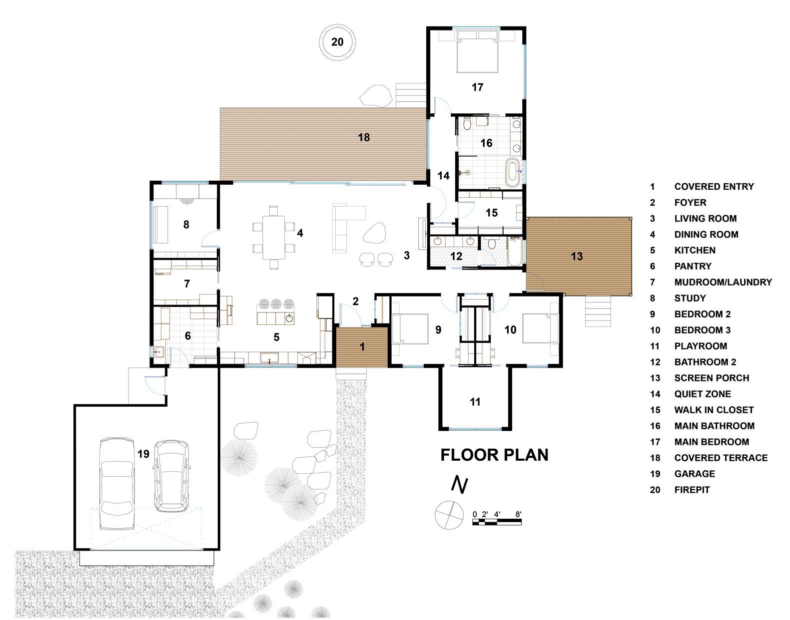 The floor plan of a modern home with a covered deck, and an open plan interior.