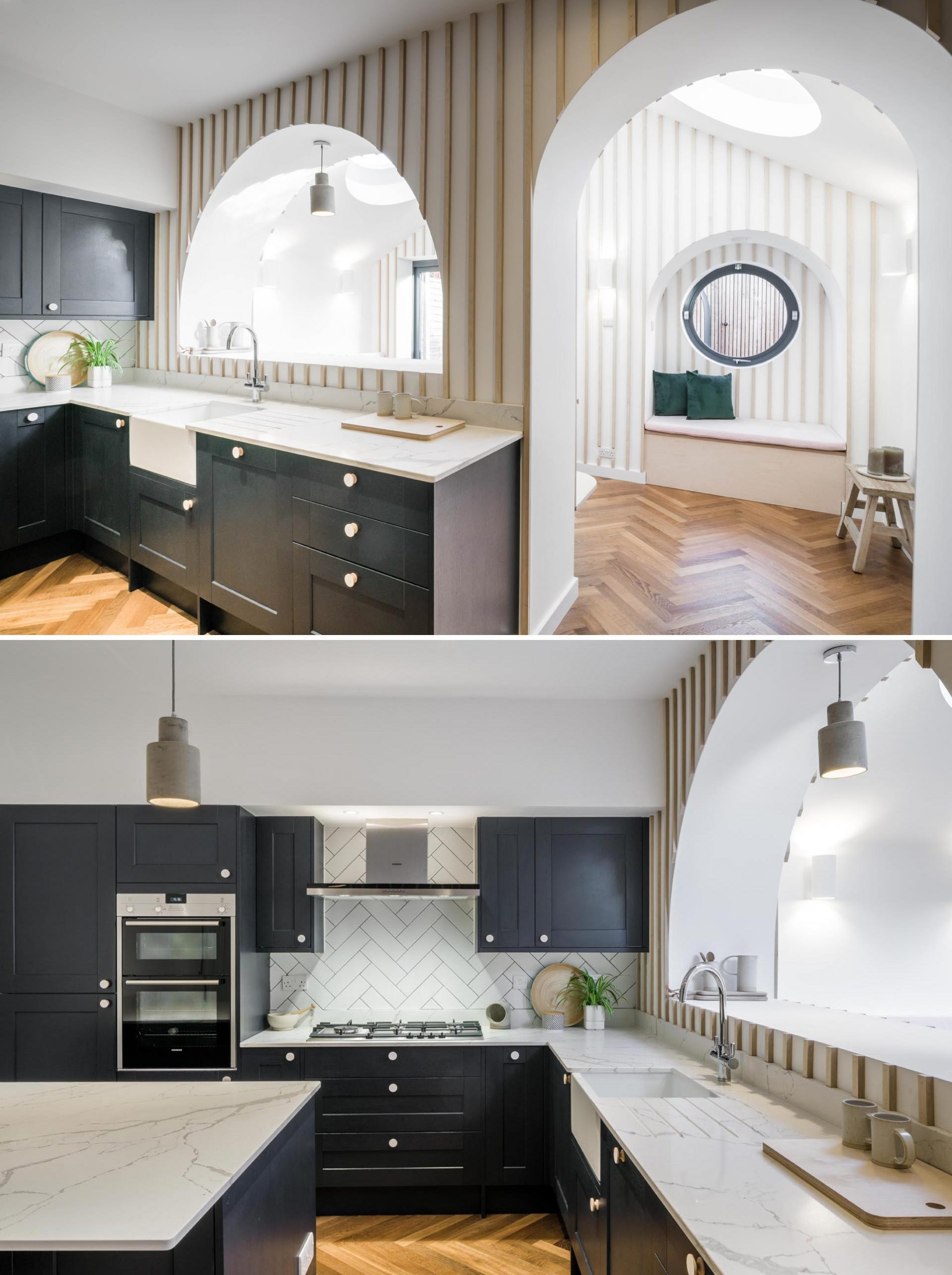 In this contemporary kitchen, black cabinets contrast the white countertop, while an arched pass-through connects to the dining area.