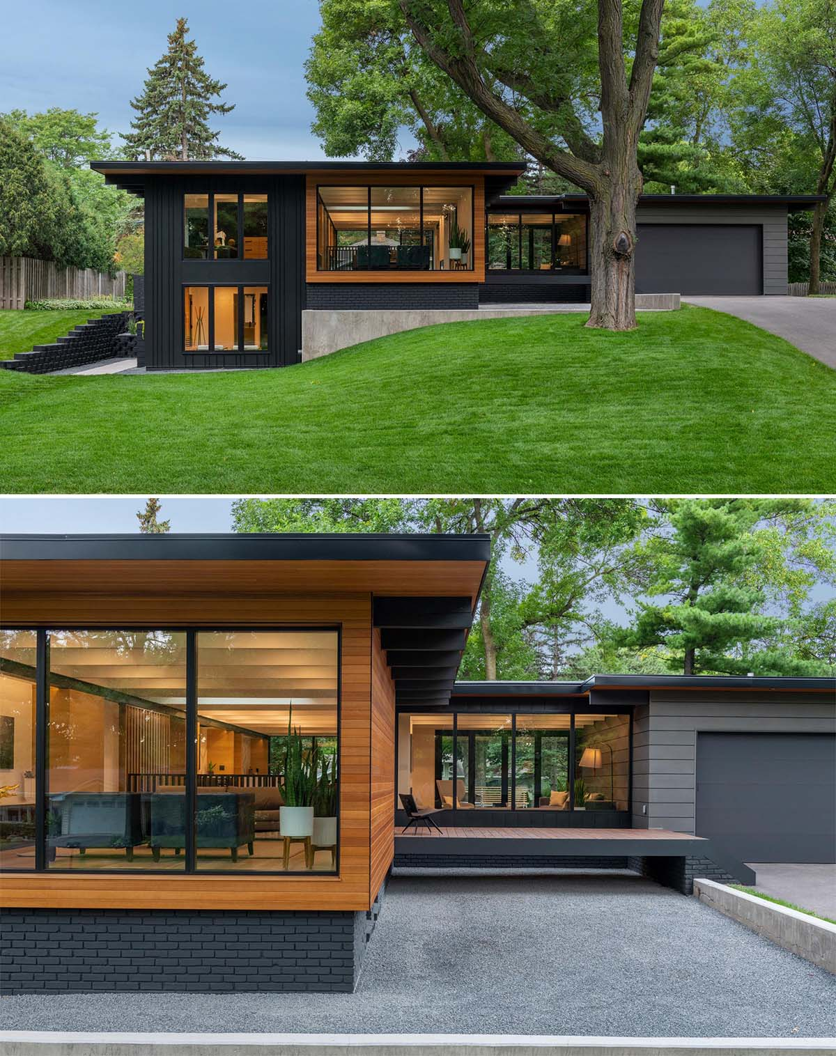 A remodeled mid century modern house with a black and wood exterior.