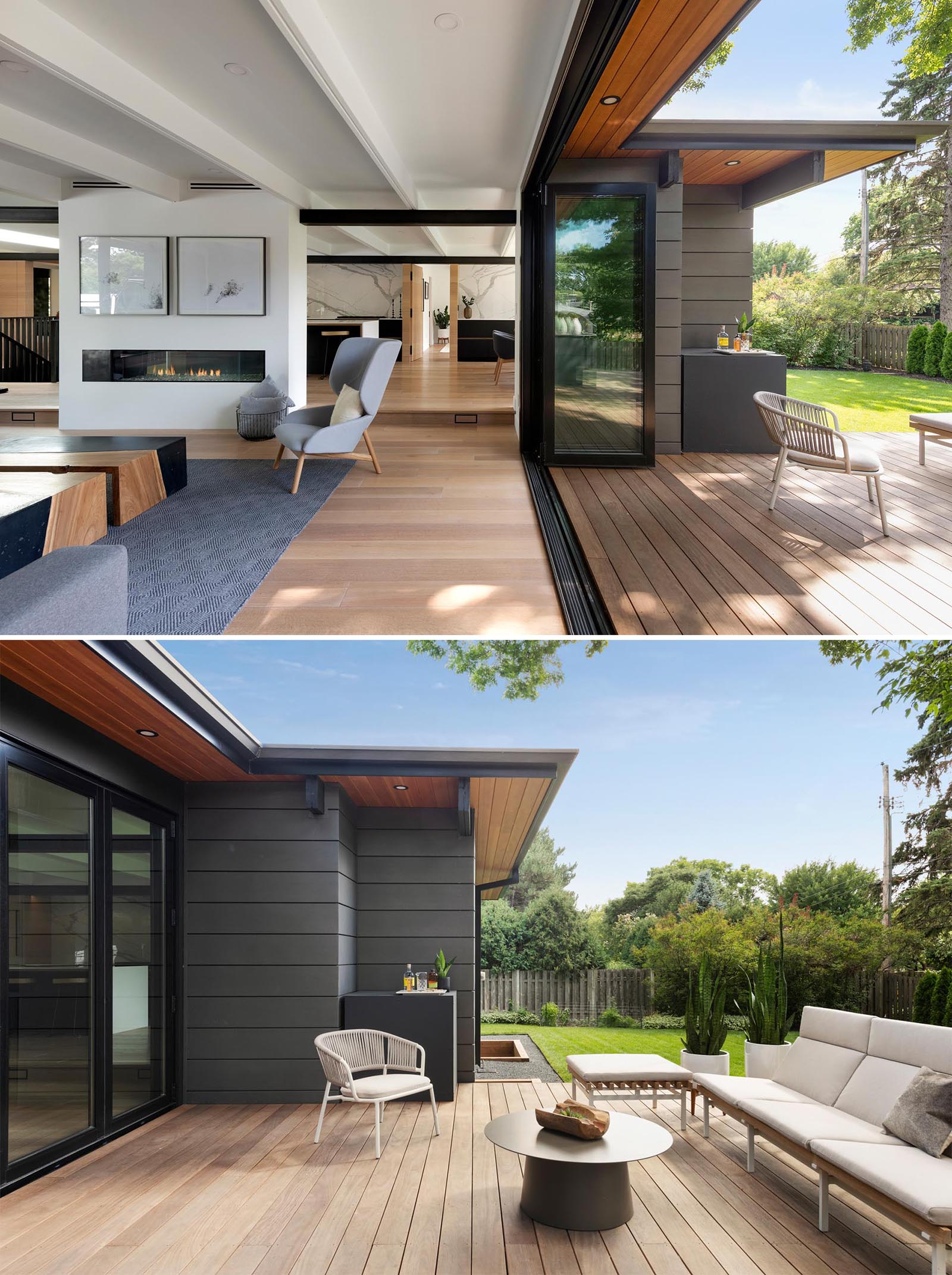 A folding glass wall opens this modern living room to a wood deck that extends the available living space.