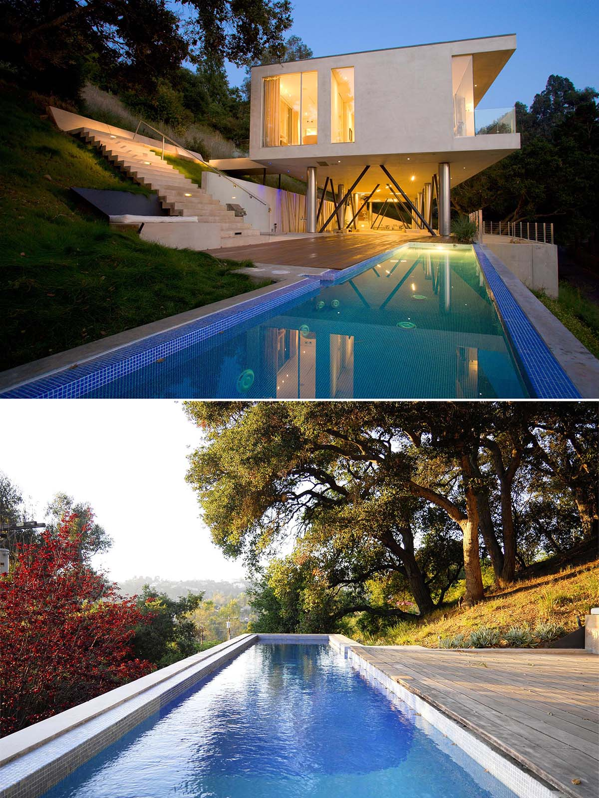 A modern home with a long swimming pool and exterior stairs.