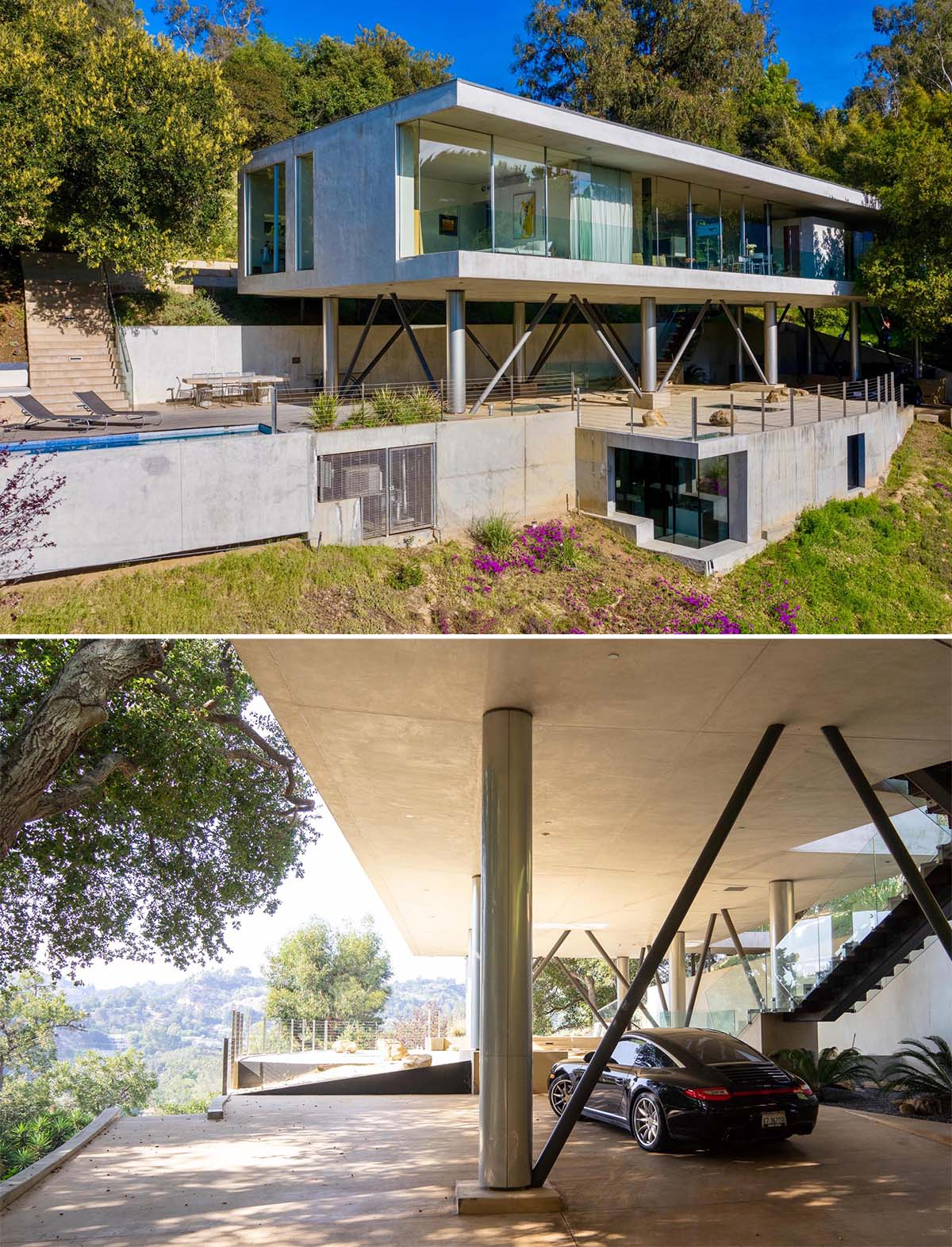 A modern home with a swimming pool and underground home office.
