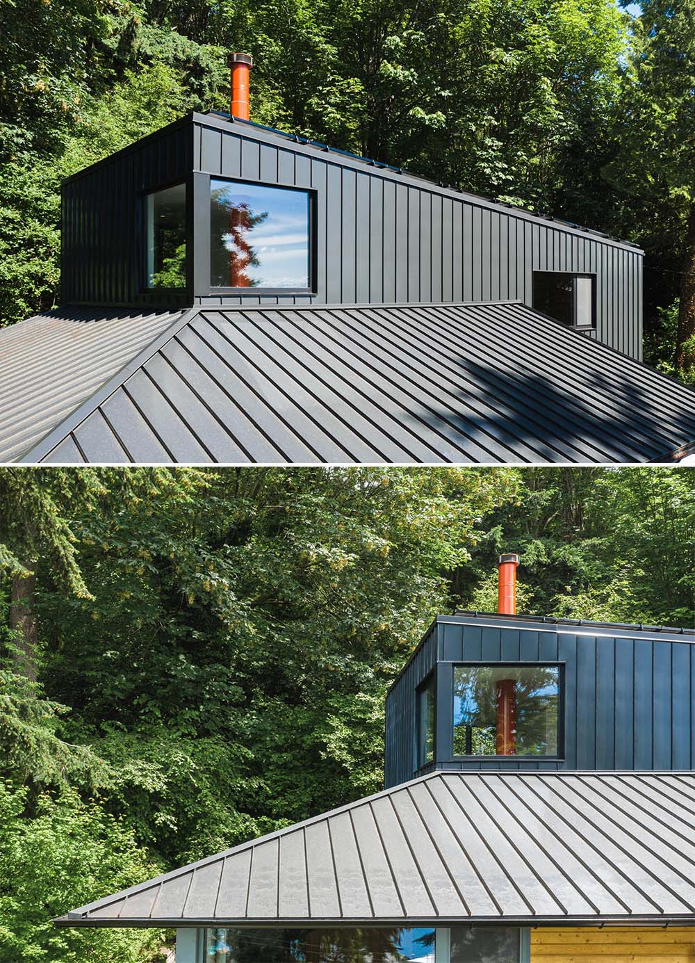 A black metal roof on a modern home.