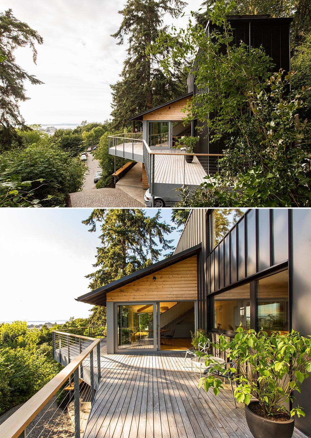 The wrap-around balcony extends the living space of this home.