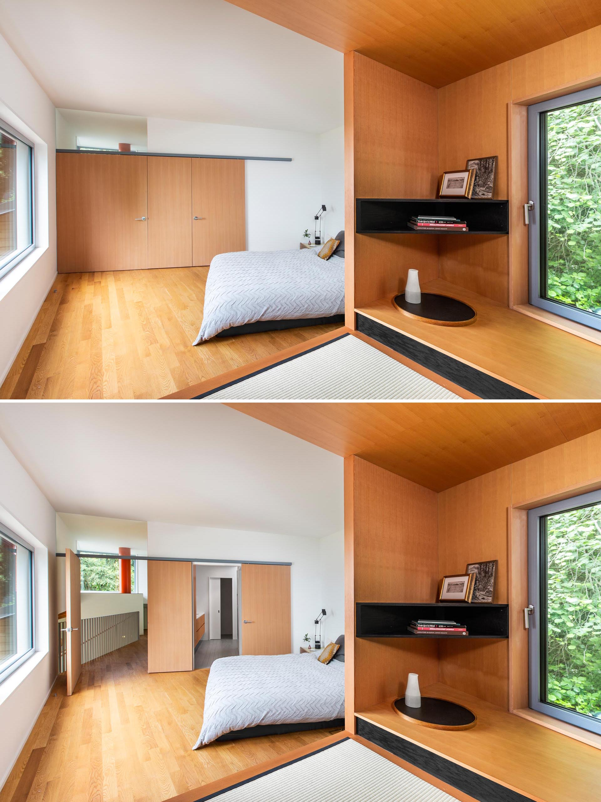A pivoting bedroom door was made possible by the installation of a custom track that also enables a sliding bathroom door. Both the doors and a panel are made from fir.