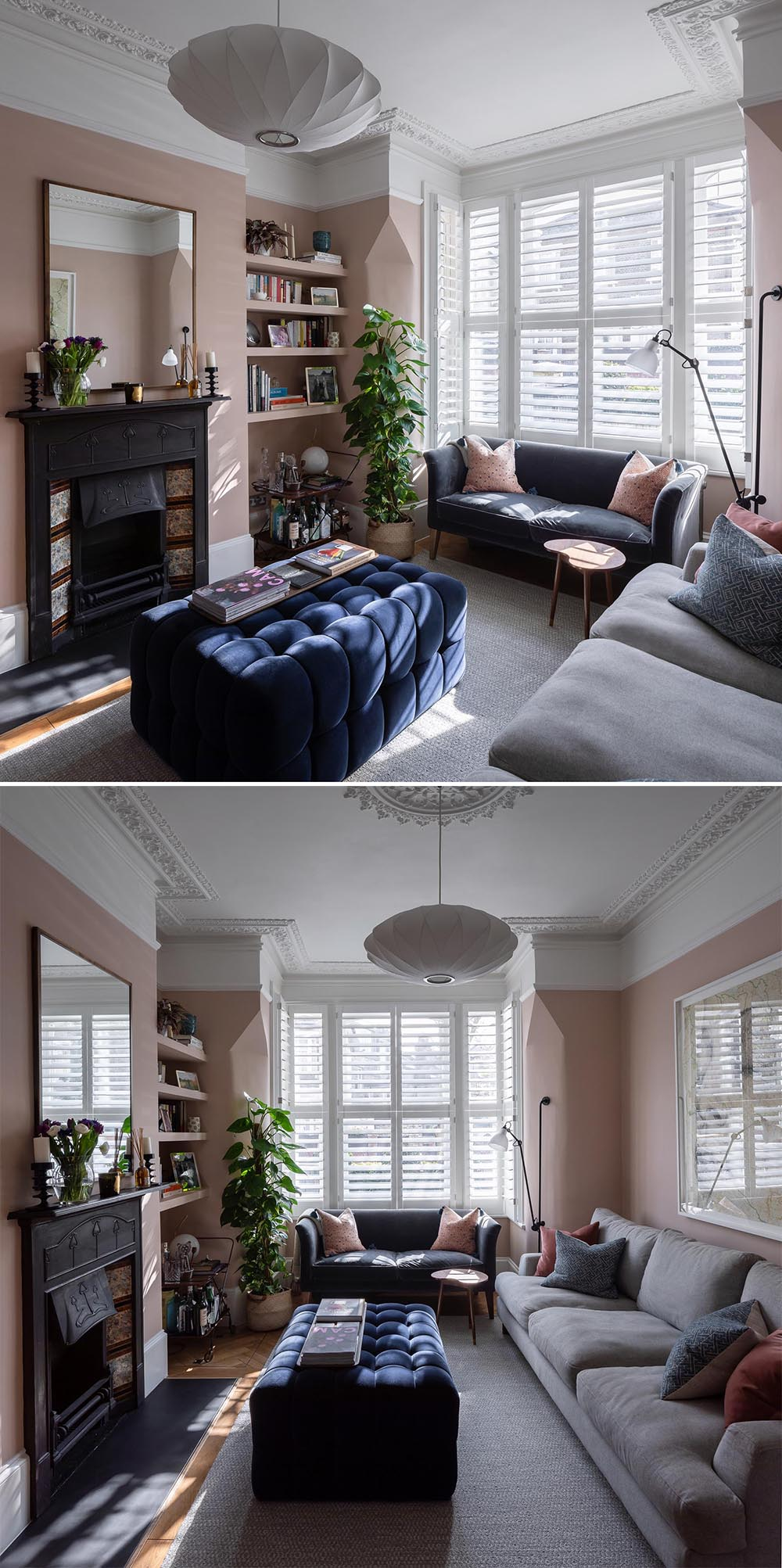 A living room with blush pink walls, contemporary furniture, built-in shelving, and a fireplace.