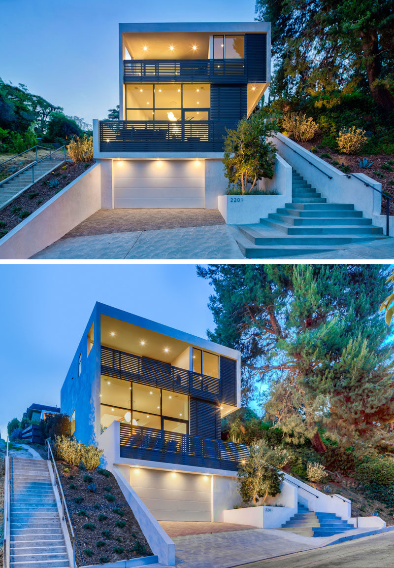 Aaron Neubert Architects, Inc. (ANX) has recently completed a new modern house in Los Angeles, California, that's located on a sloped lot. #ModernHouse #HouseDesign #ModernArchitecture