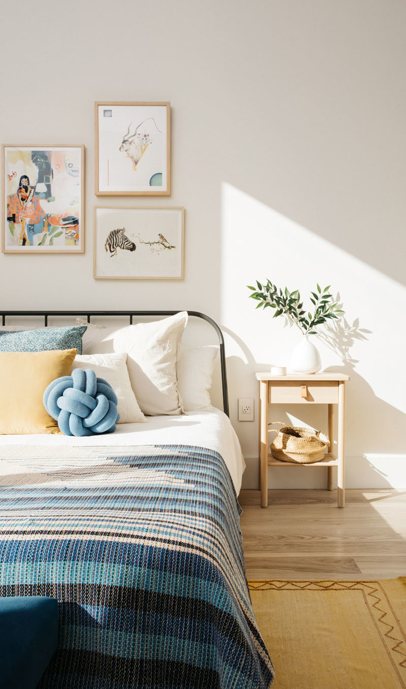Bedroom Ideas - This contemporary bedroom has been decorated with comfortable furnishings, that keep the room light and airy. #BedroomIdeas #Modernbedroom