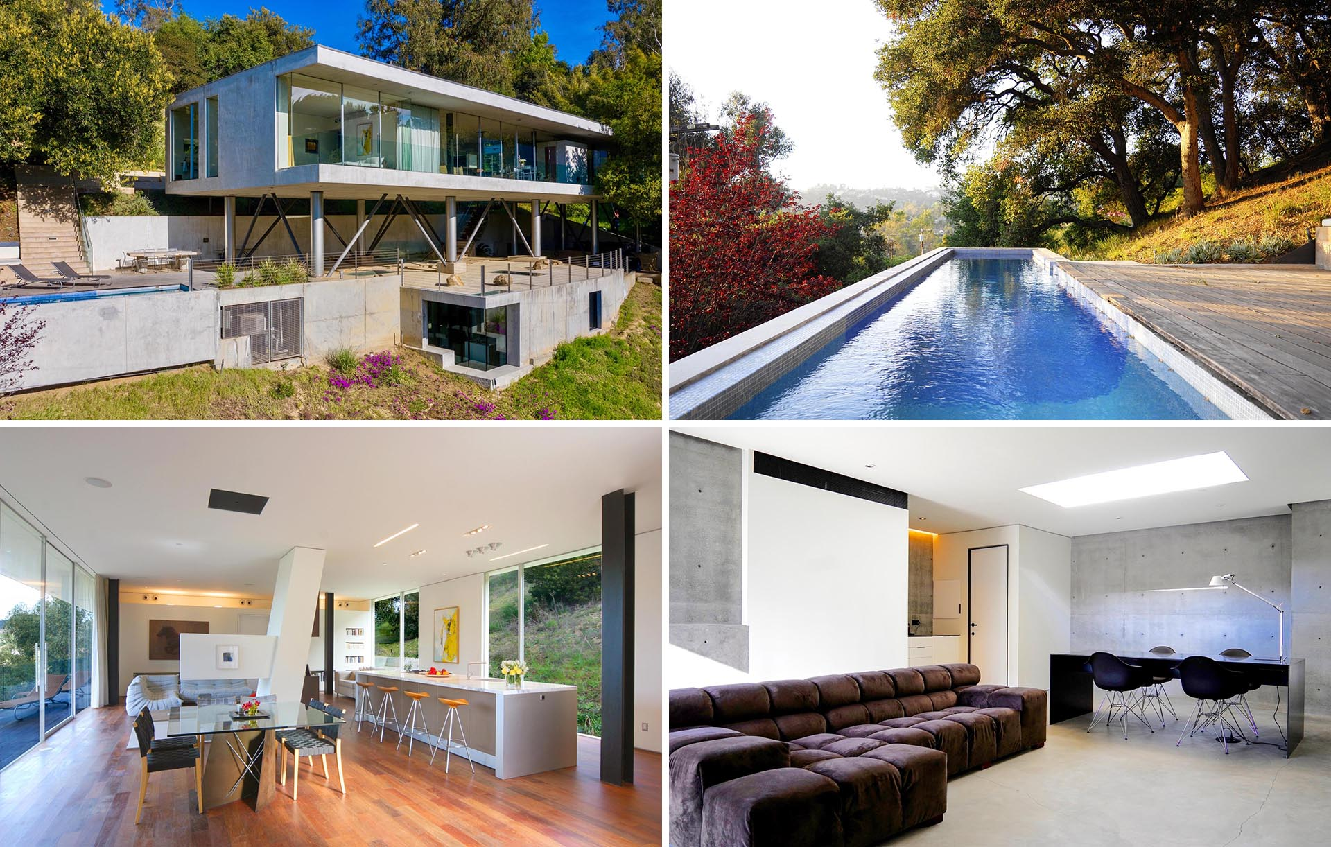 A modern concrete house with an open plan interior, a swimming pool, and an underground home office.