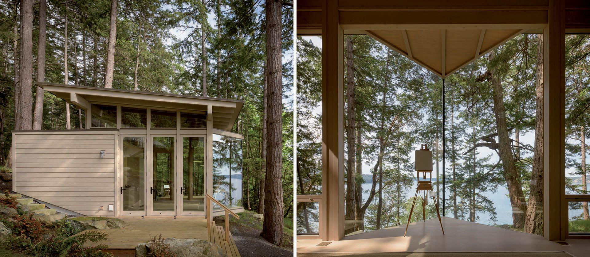 A small wood cabin that acts as a painting studio or guest house.