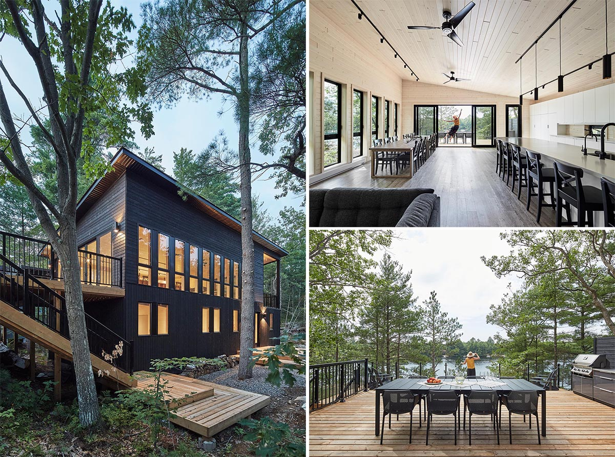 A modern cottage with black siding, a large deck, and an open great room with plenty of space for entertaining.