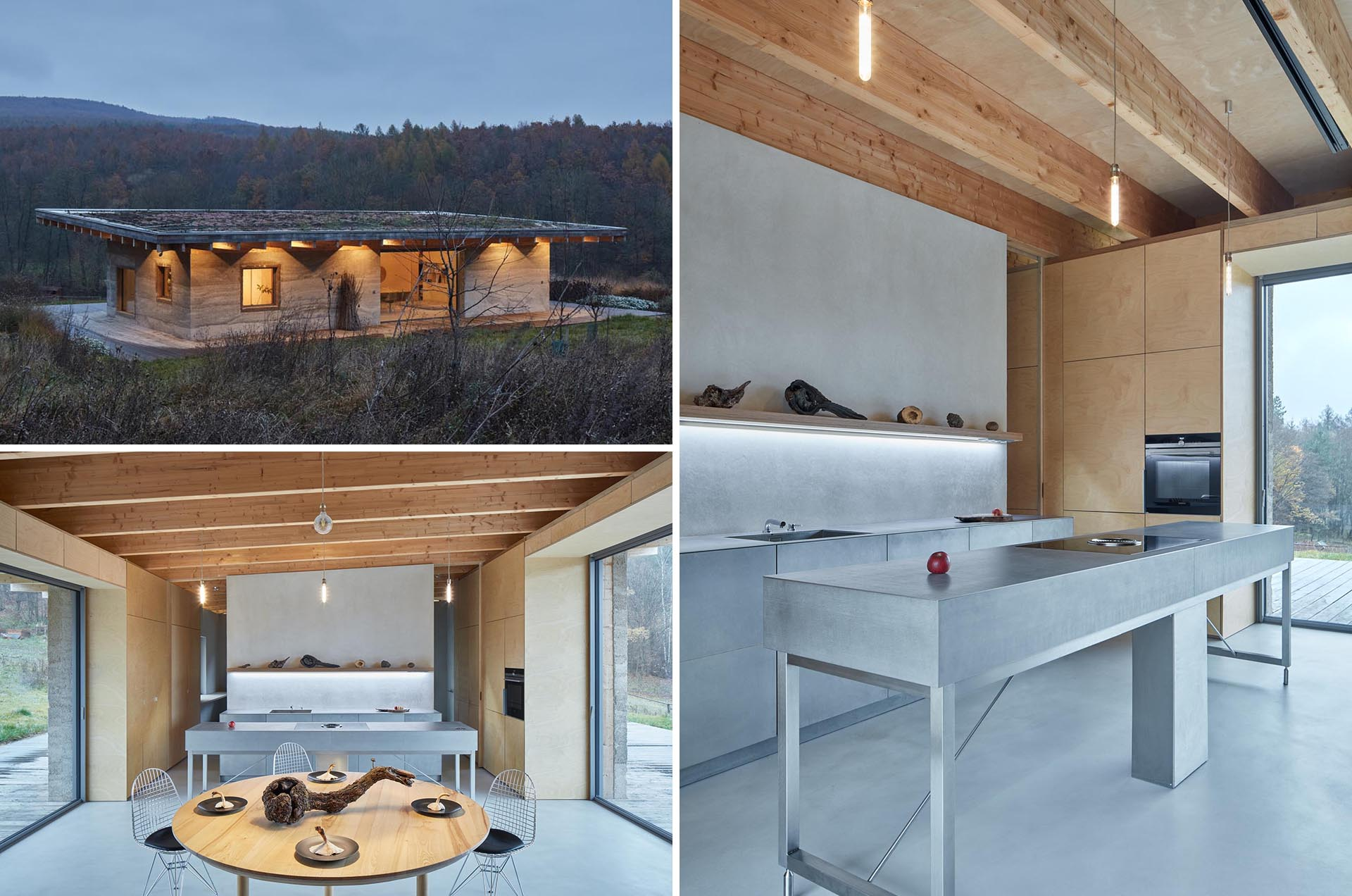 A modern cabin has been designed with hempcrete walls and a green roof.