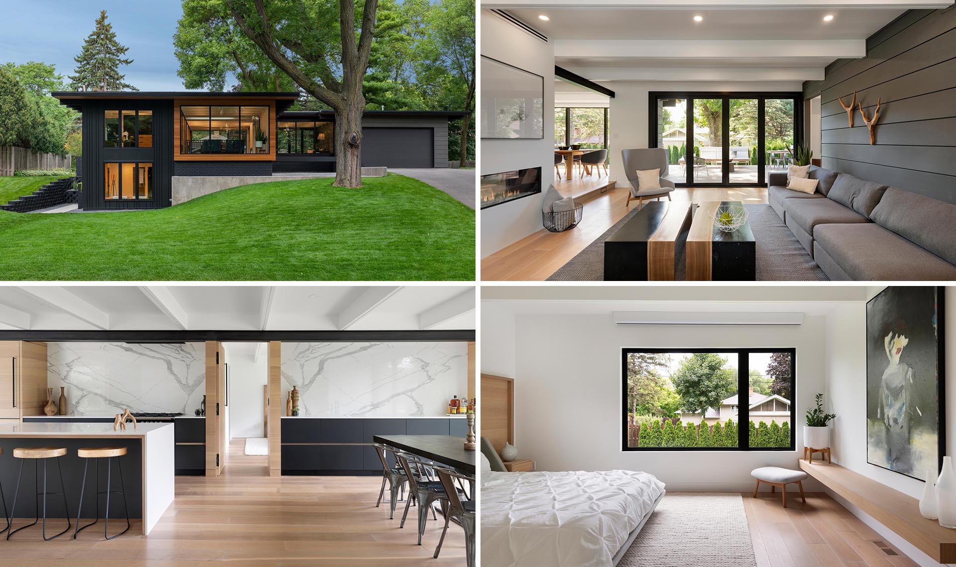A remodeled mid-century modern home with an updated interior.