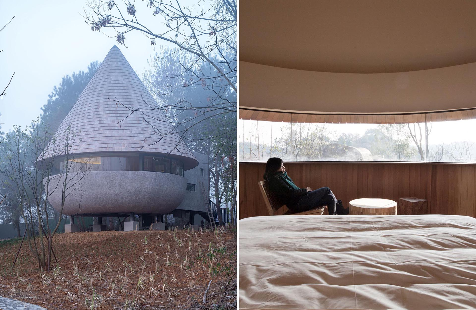 A modern cabin with a cone-shaped shingle clad roof.