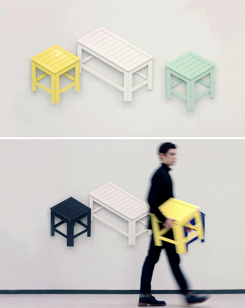 This contemporary wall art turns into usable furniture...Perfect for small spaces.