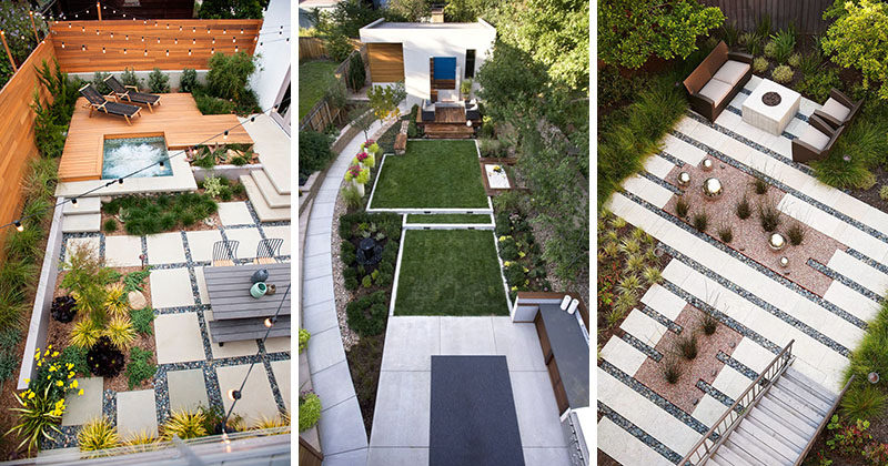 Here are 16 inspirational examples of backyard landscape designs that have been photographed from above. #Backyard #YardIdeas #LandscapingIdeas #YardLayout #YardDesign