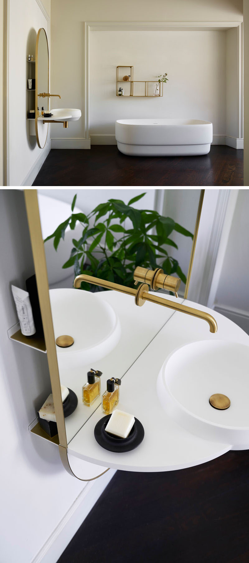 Mut Design studio have created ARCO, a multi-functional piece of bathroom furniture that has an integrated mirror, taps, washbasin, and shelving system hidden behind the glass. #Bathroom #BathroomMirror #ModernBathroom