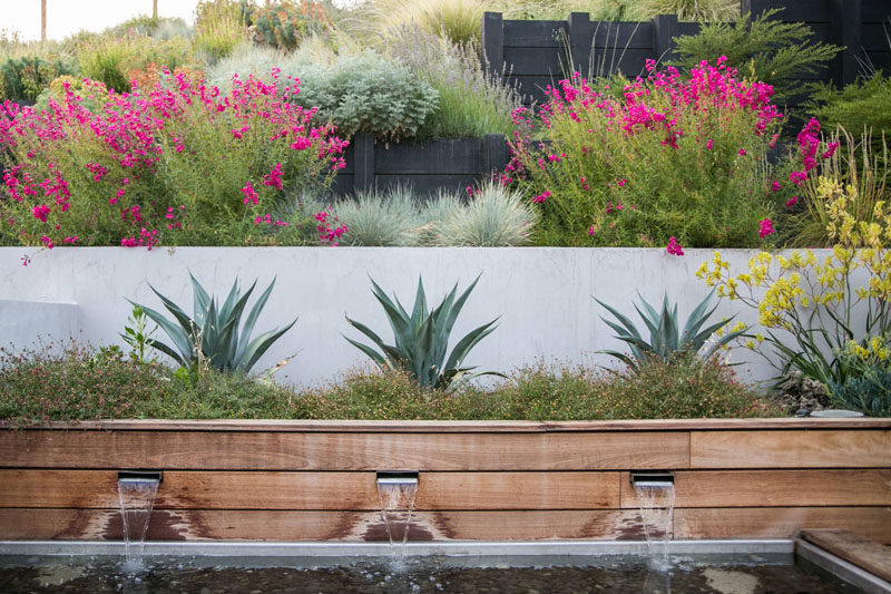 12 Ideas For Including Built-In Wooden Planters In Your Outdoor Space // This long wooden built in planter houses plants and contributes to the water feature in the backyard, adding softness and contrast to the the concrete wall behind it. #WoodPlanters #BuiltInPlanters #Landscaping #LandscapeDesign #BackyardPlanters #YardIdeas