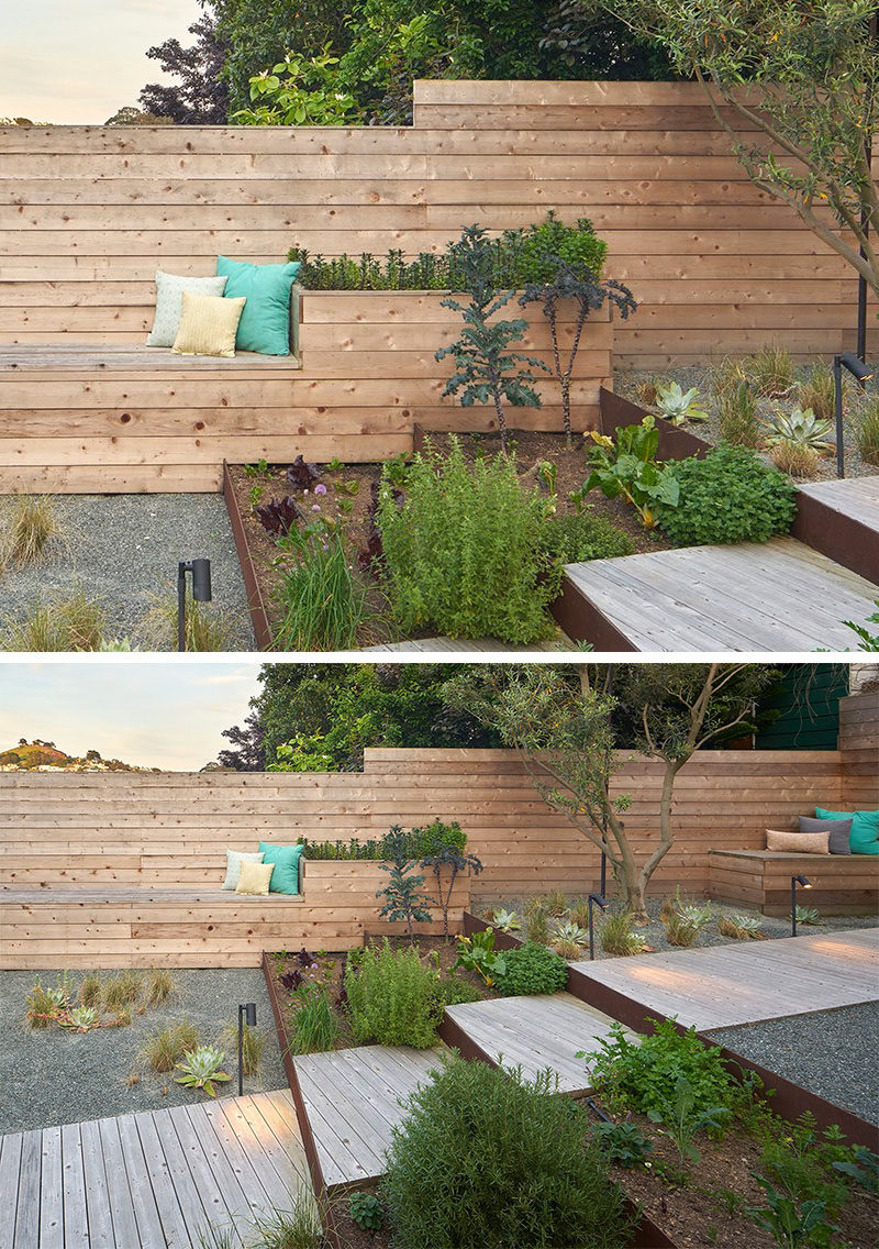 12 Ideas For Including Built-In Wooden Planters In Your Outdoor Space // The fully landscaped backyard has wooden planters incorporated into the built-in bench seating. #WoodPlanters #BuiltInPlanters #Landscaping #LandscapeDesign #BackyardPlanters #YardIdeas