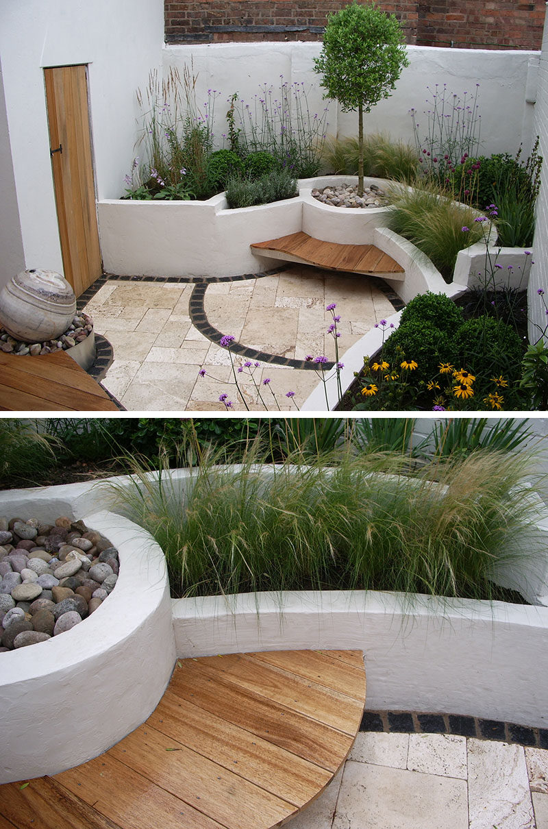 10 Inspirational Ideas For Including Custom Concrete Planters In Your Yard // The painted built in concrete planters on this patio provide seating while the unique design provides dimension and texture.