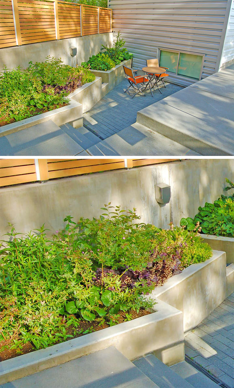 10 Inspirational Ideas For Including Custom Concrete Planters In Your Yard // Large built-in concrete planters frame the small patio area and provide a place for some greenery.