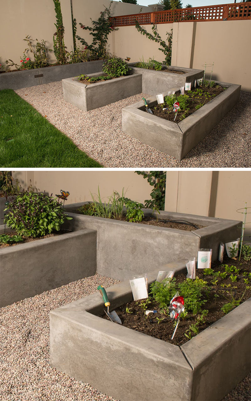10 Inspirational Ideas For Including Custom Concrete Planters In Your Yard // Custom smooth concrete vegetable boxes have been designed at varying heights to add interest to the garden.