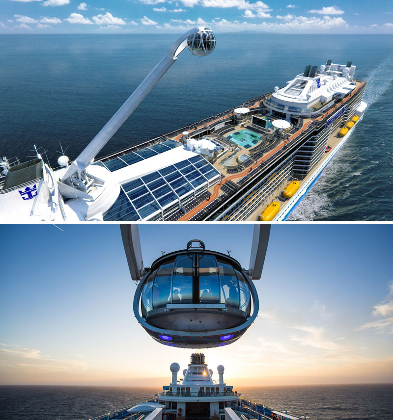 20 Of The Craziest Things You'll Find On Cruise Ships! // This capsule sends you 300ft above sea level to offer 360 degree views of the ocean. You can find it on Royal Caribbean's Anthem Of The Seas.