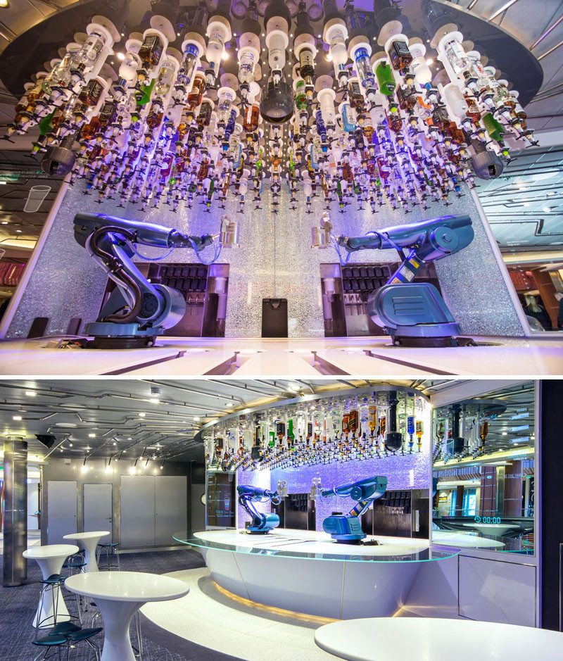 20 Of The Craziest Things You'll Find On Cruise Ships! // Get your cocktails mixed by a robot at the Bionic Bar on the Anthem of the Seas or the Quantum of the Seas by Royal Caribbean.