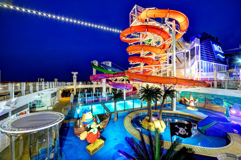 20 Of The Craziest Things You'll Find On Cruise Ships! // Feel like a kid again at the Aqua Park on the Norwegian Getaway ship. With 5 multi-story waterslides, including the fastest ones at sea and side-by-side twister slides, 2 swimming pools and 4 hot tubs there is no shortage of water fun on the ship.