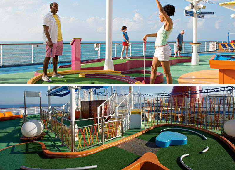20 Of The Craziest Things You'll Find On Cruise Ships! // Every Carnival ship has a mini golf course for full family fun.