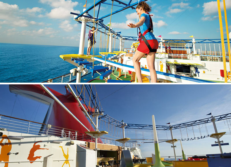 20 Of The Craziest Things You'll Find On Cruise Ships! // The SkyCourse is a ropes course in the sky! Strapped into a harness you can walk and climb safely while taking in the incredible views.