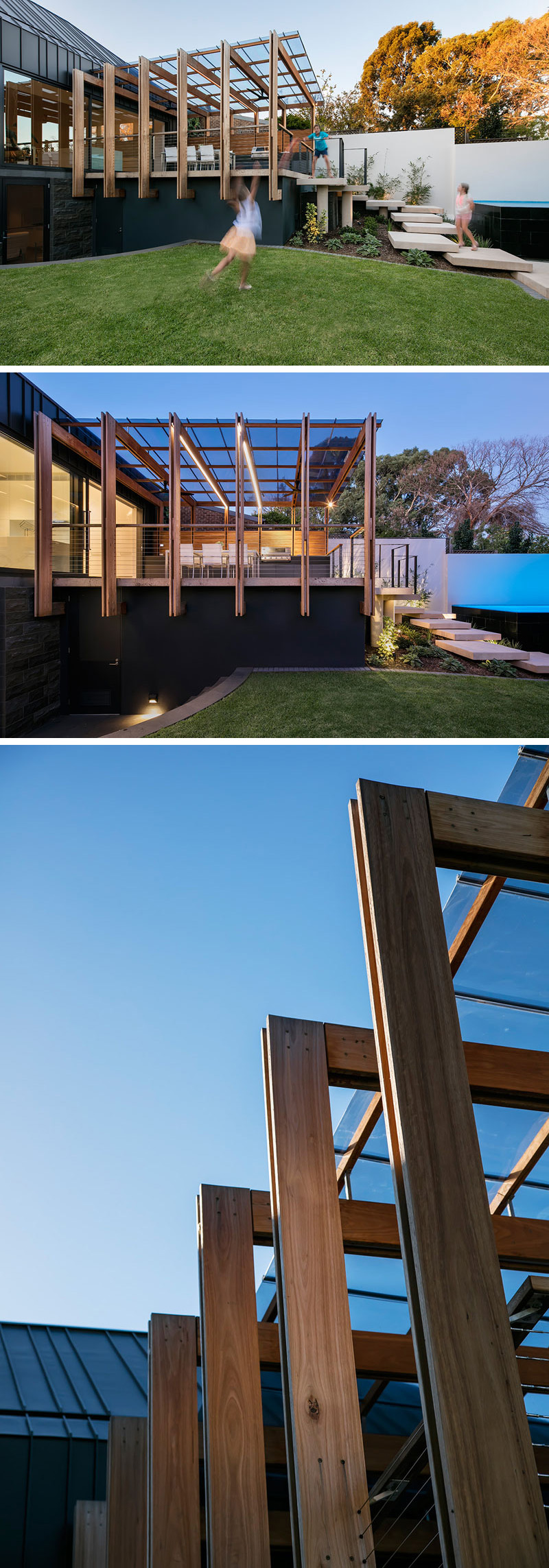 This house has an outdoor entertaining area with a modern pergola and deck, offering both light and shelter. The glass roof sitting on top of the wood fins protects furniture and people from getting wet when it rains, and the wood fins includes LED strips built into them to create a soft light for the outdoor space.