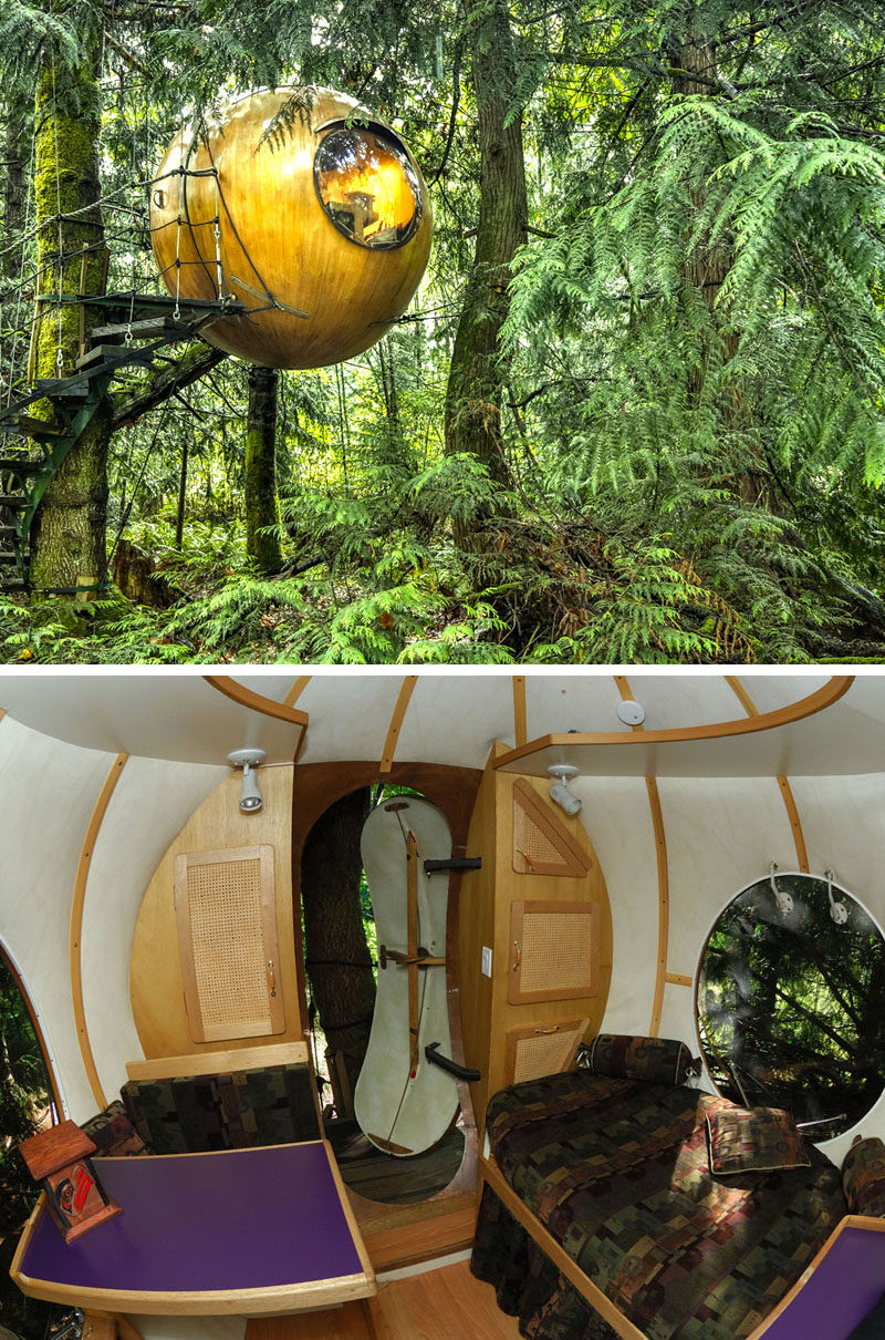 10 Glamping Destinations For People Who Want To Go Camping But Need The Luxuries Of A Hotel //  Free Spirit Spheres - Vancouver Island, Canada