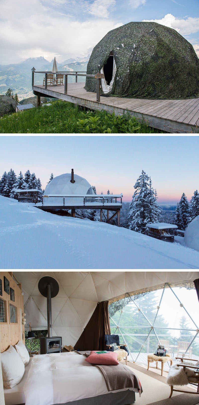 10 Glamping Destinations For People Who Want To Go Camping But Need The Luxuries Of A Hotel // Whitepod Eco-luxury Hotel - Les Giettes, Switzerland