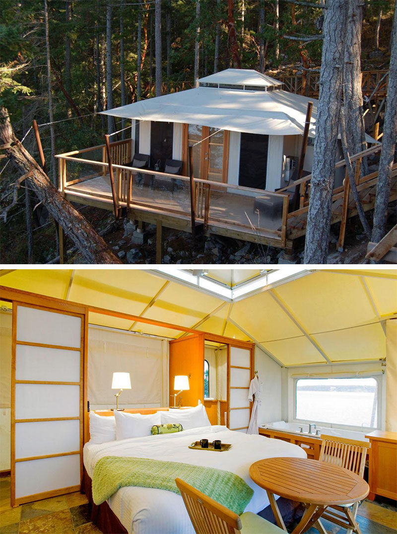 10 Glamping Destinations For People Who Want To Go Camping But Need The Luxuries Of A Hotel // Rock Water Secret Cove Resort - Halfmoon Bay, Canada