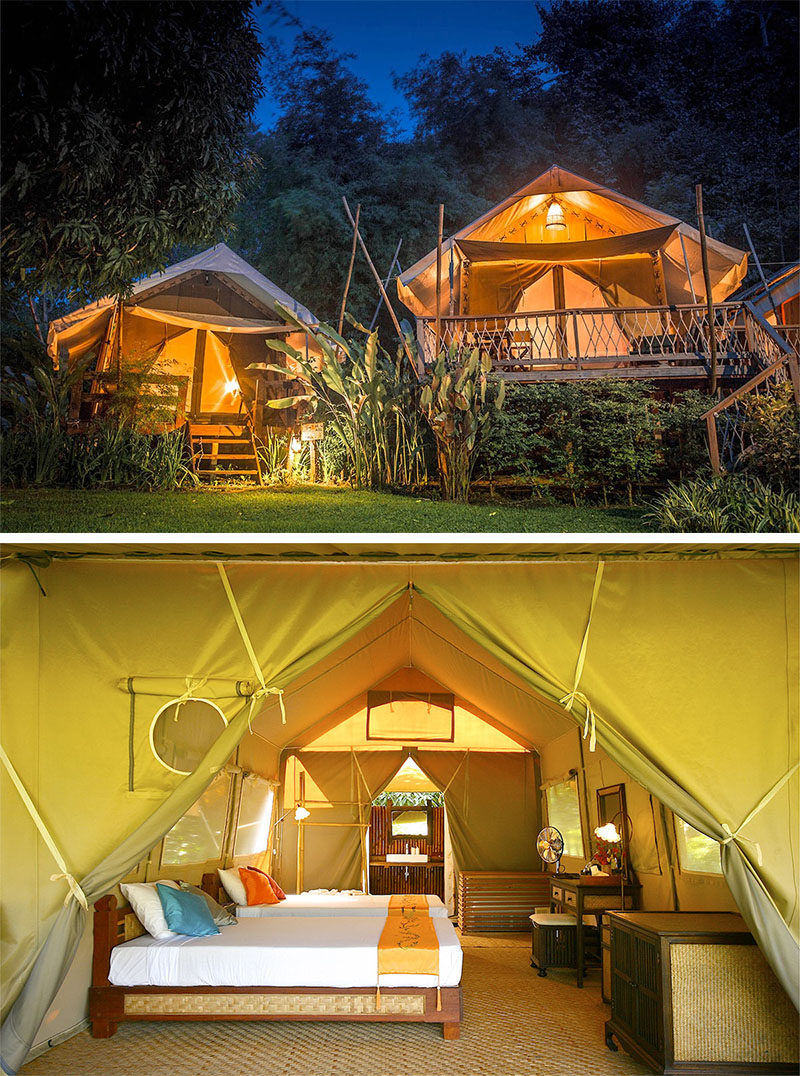 10 Glamping Destinations For People Who Want To Go Camping But Need The Luxuries Of A Hotel // Hintok River Camp - Kanchanaburi, Thailand