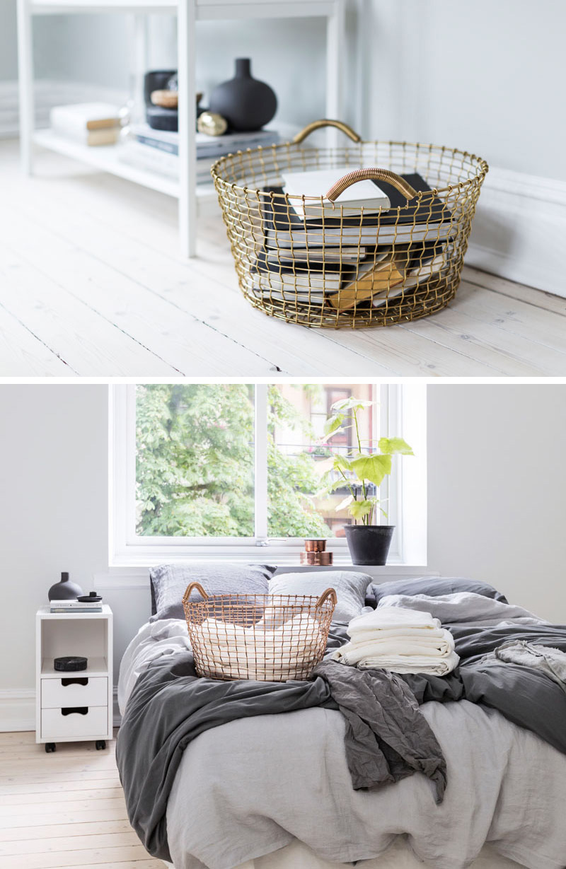 These modern baskets will work with any home decor style and are made from copper and brass wire.