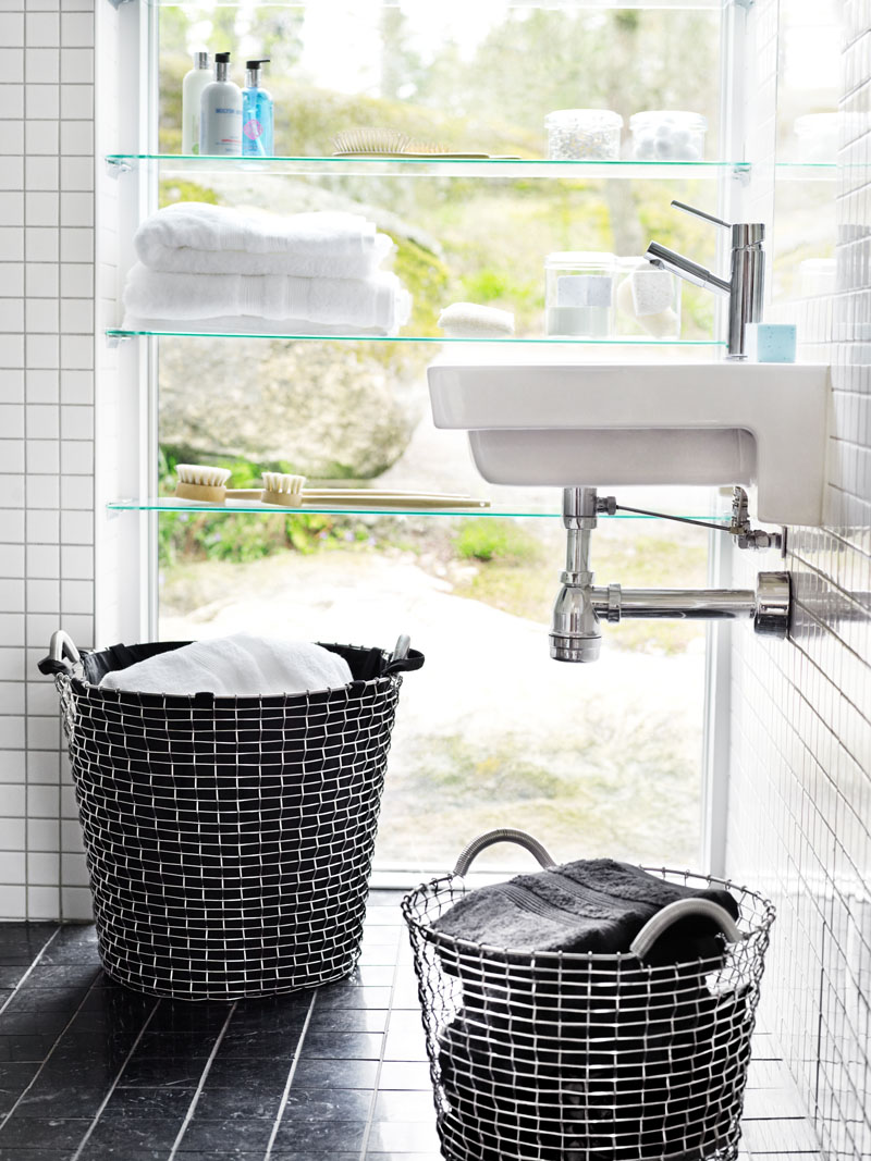 Liners give these modern wire baskets a softer look and enable them to be used as laundry hampers.