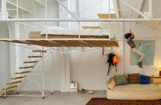 A Hanging Platform Creates A Bedroom In This Renovated Warehouse Space