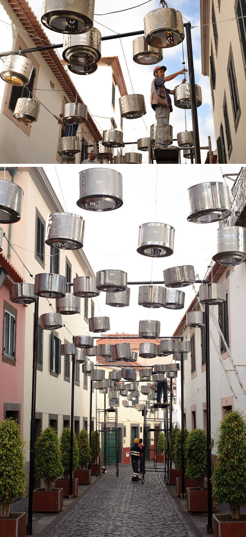 This Light Art Installation Is Made From 133 Old Washing Machine Drums