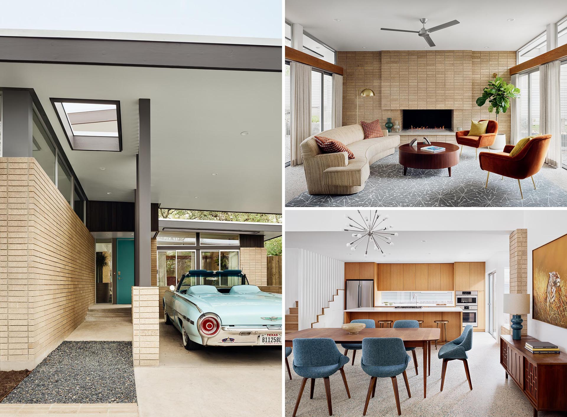 A mid-century modern inspired home with a brick fireplace, high ceilings, a wood kitchen, and one-of-a-kind concrete floor with colorful glass finish.